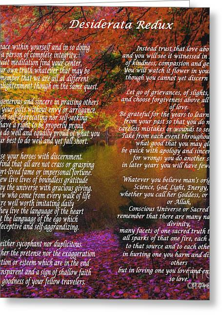 Value Greeting Cards - Desiderata Redux Greeting Card by Lianne Schneider