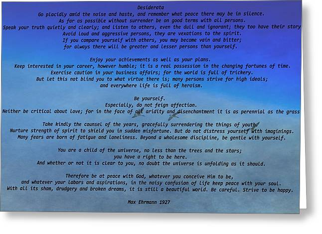 Desiderata Sky Greeting Card by Dan Sproul
