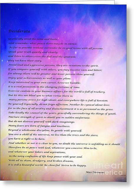 Desiderata Sky Stars Greeting Card by Barbara Griffin