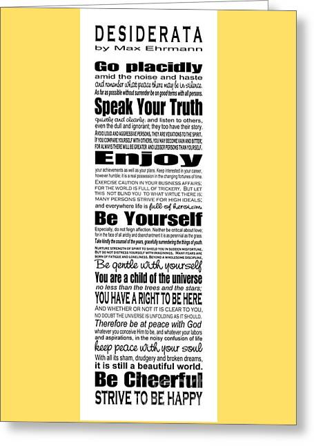 Desiderata - Subway Style Greeting Card by Ginny Gaura