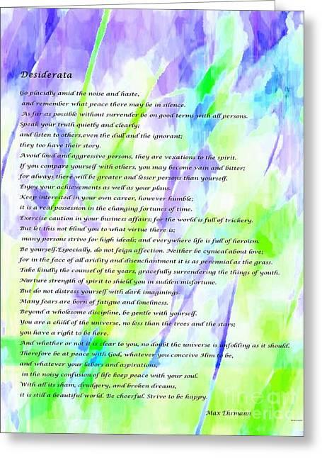 Desiderata Watercolor Abstract Greeting Card by Barbara Griffin