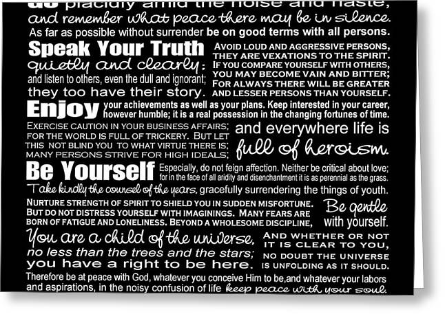 Ginny Gaura Greeting Cards - Desiderata - White Text on Black Background - Reversed Type Greeting Card by Ginny Gaura