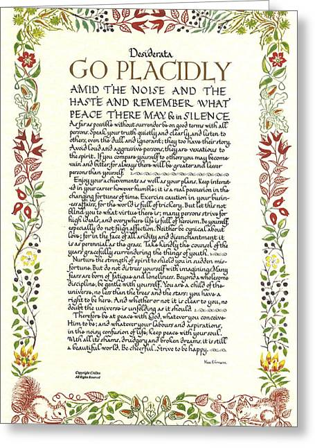 Recently Sold -  - Motivational Poster Greeting Cards - DESIDERATA Wild Flower Design Greeting Card by Desiderata Gallery