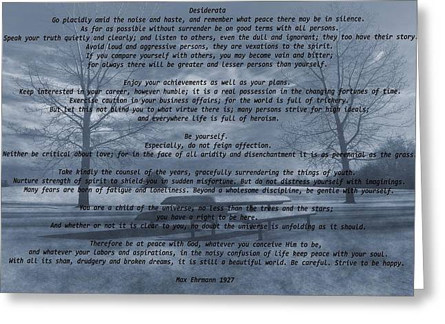 Author Mixed Media Greeting Cards - Desiderata Winter Scene Greeting Card by Dan Sproul