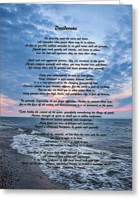 Motivational Poster Greeting Cards - Desiderata Wisdom Greeting Card by Dale Kincaid