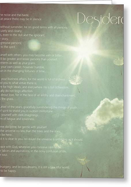 Things Light Greeting Cards - Desiderata Wishes Greeting Card by Marianna Mills