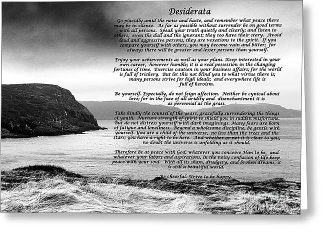 Barbara Griffin Greeting Cards - Desiderata with Black and White Seascape Greeting Card by Barbara Griffin