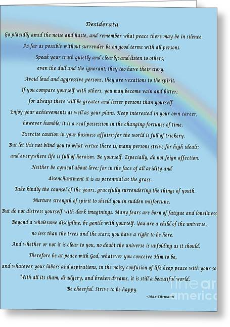 Desiderata With Blue Sky And Rainbow Greeting Card by Barbara Griffin