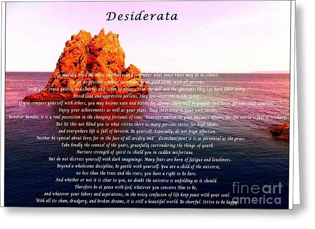 Desiderata With Ocean And Red Rock At Sunset Greeting Card by Barbara Griffin