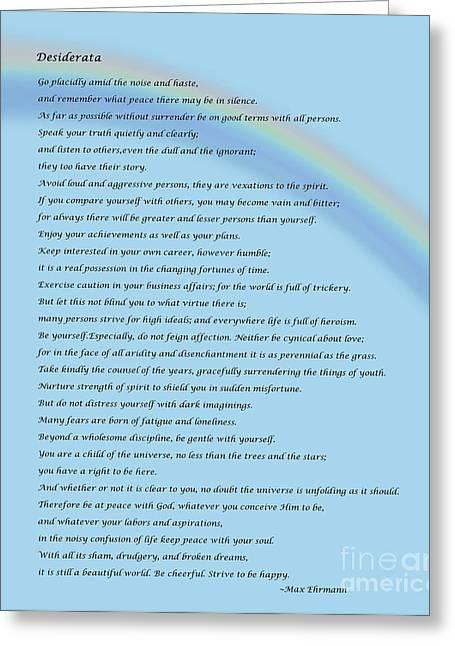 Desiderata With Rainbow Greeting Card by Barbara Griffin