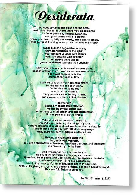 For Sale Greeting Cards - Desiderata - Words of Wisdom Greeting Card by Sharon Cummings