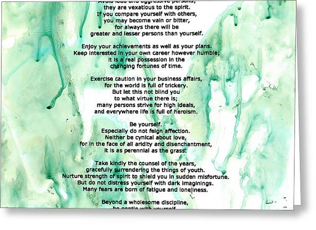 Desiderata - Words of Wisdom Greeting Card by Sharon Cummings