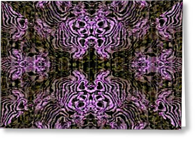 Abstract Digital Tapestries - Textiles Greeting Cards - Design 1 Catus 1 H b Greeting Card by Gert J Rheeders