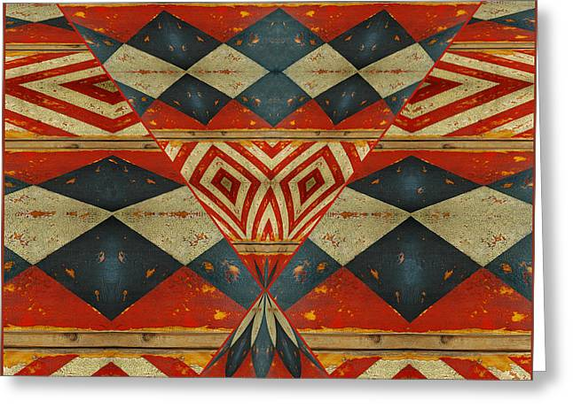 Painted Wood Greeting Cards - Design 1 -native inspired Greeting Card by Jeff Burgess