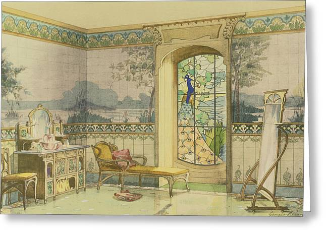 Design For A Bathroom, From Interieurs Greeting Card by Georges Remon