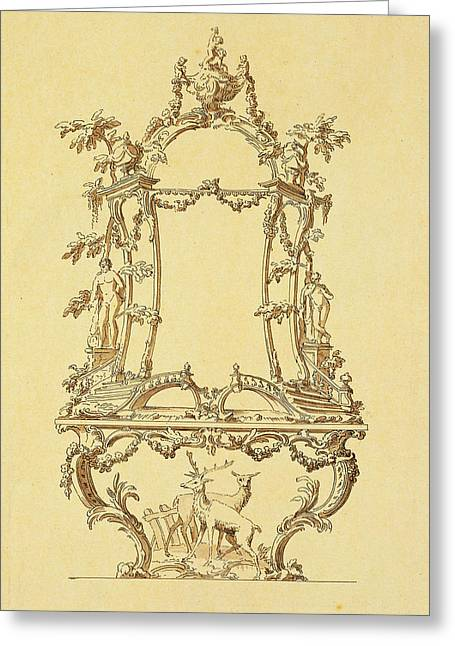 Rococo Greeting Cards - Design For A Console Table Greeting Card by John Linnell