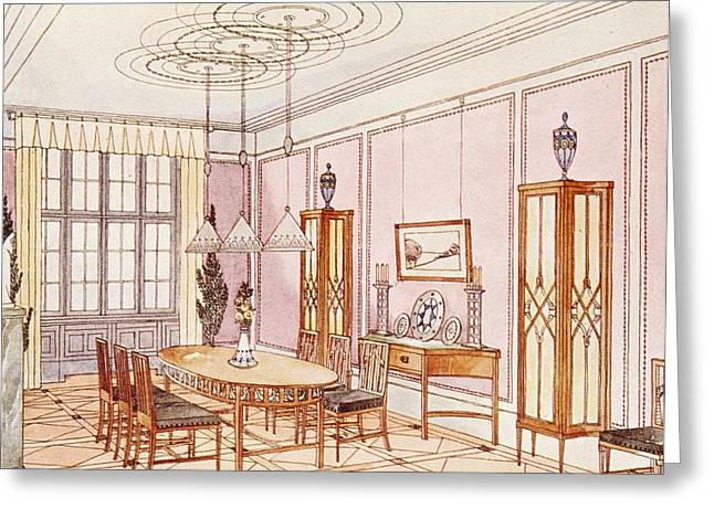 Modernism Greeting Cards - Design For A Dining Room Greeting Card by Paul Ludwig Troost
