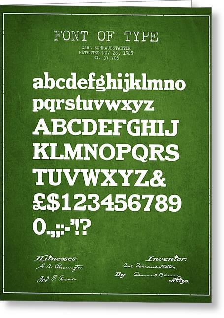Typeface Greeting Cards - Design for a Font of  Type Patent Drawing from 1905 - Green Greeting Card by Aged Pixel