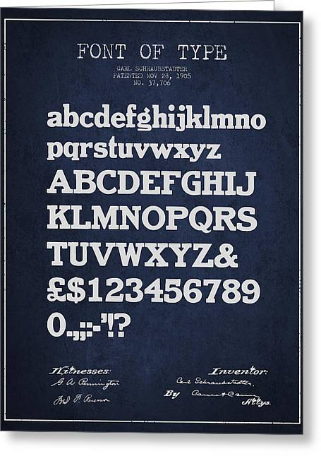 Typeface Greeting Cards - Design for a Font of  Type Patent Drawing from 1905 - Navy Blue Greeting Card by Aged Pixel