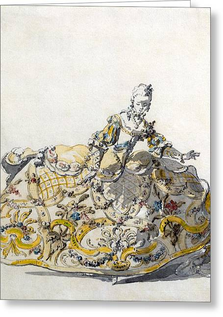 Full Skirt Greeting Cards - Design For A Ladies Gown, 1780s Greeting Card by French School