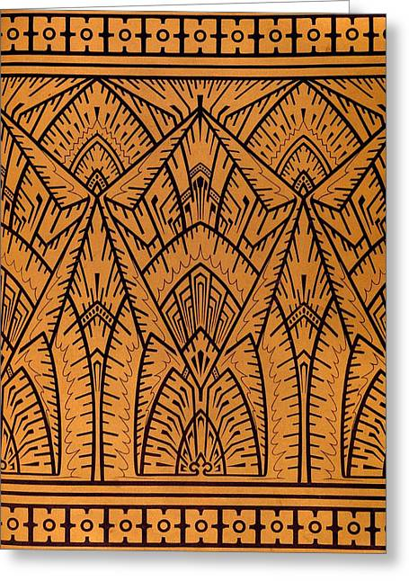 Brown Tapestries - Textiles Greeting Cards - Design for a Pattern illustration from Studies in Design Greeting Card by Christopher Dresser