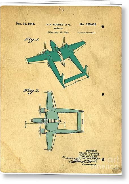 Patent Drawings Greeting Cards - DESIGN FOR AN AIRPLANE  Howard R. Hughes Greeting Card by Edward Fielding