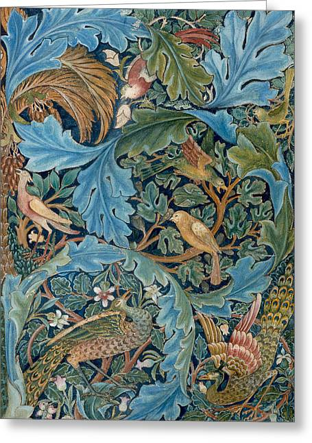 Tapestries Textiles Greeting Cards - Design for tapestry Greeting Card by William Morris