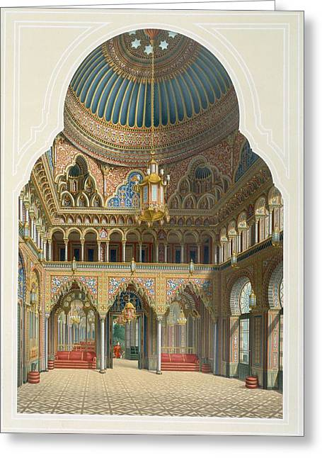 Tiled Greeting Cards - Design For The Entrance Hall Greeting Card by Karl Ludwig Wilhelm Zanth