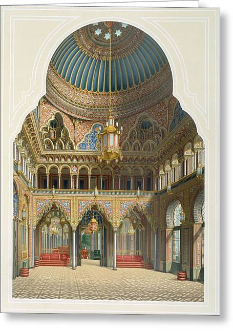 Design For The Entrance Hall Greeting Card by Karl Ludwig Wilhelm Zanth