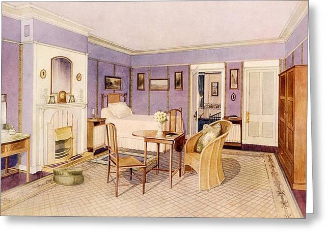 20th Drawings Greeting Cards - Design For The Interior Of A Bedroom Greeting Card by Richard Goulburn Lovell