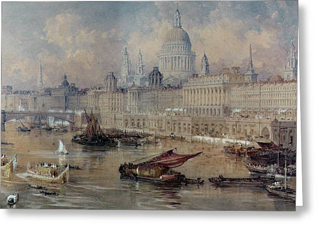 Art Of Building Greeting Cards - Design for the Thames Embankment Greeting Card by Thomas Allom