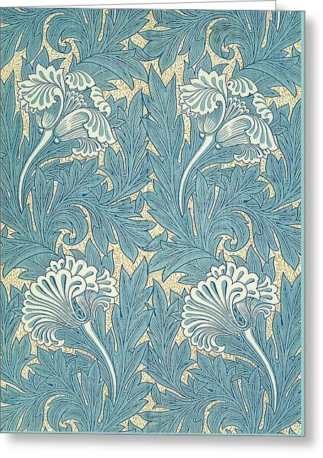 Print Tapestries - Textiles Greeting Cards - Design in Turquoise Greeting Card by William Morris