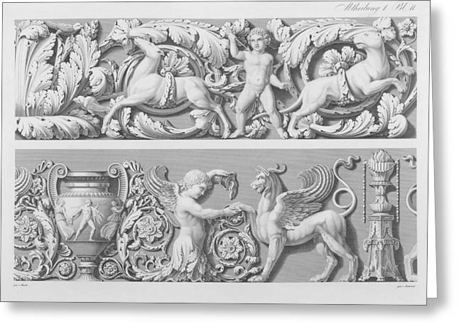 Creature Design Greeting Cards - Designs For Classical Friezes Greeting Card by German School
