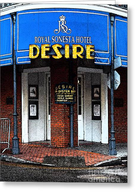Travelpixpro Greeting Cards - Desire Corner Bourbon Street French Quarter New Orleans Fresco Digital Art Greeting Card by Shawn O