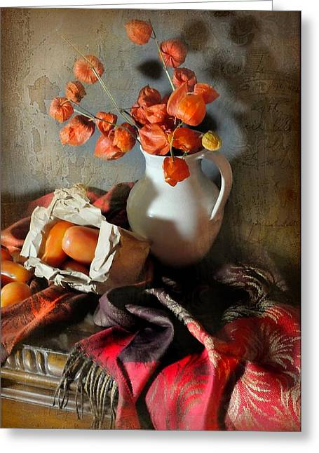 Fruit And Flowers Greeting Cards - Desk Corner Greeting Card by Diana Angstadt