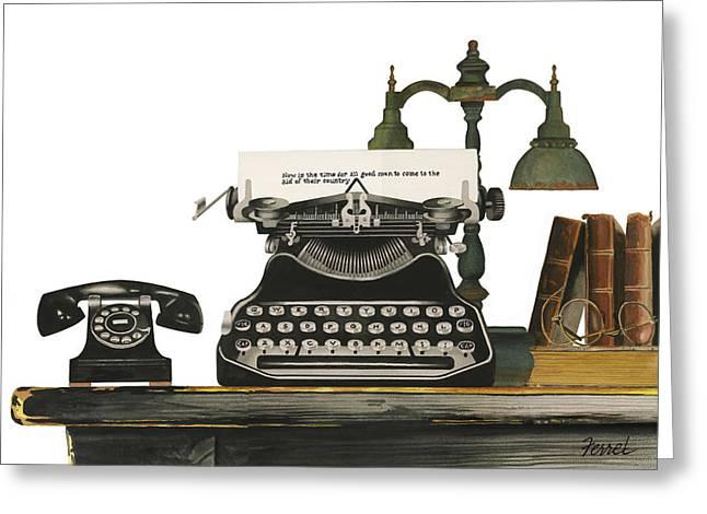 Typewriter Paintings Greeting Cards - Desk Jockey Greeting Card by Ferrel Cordle
