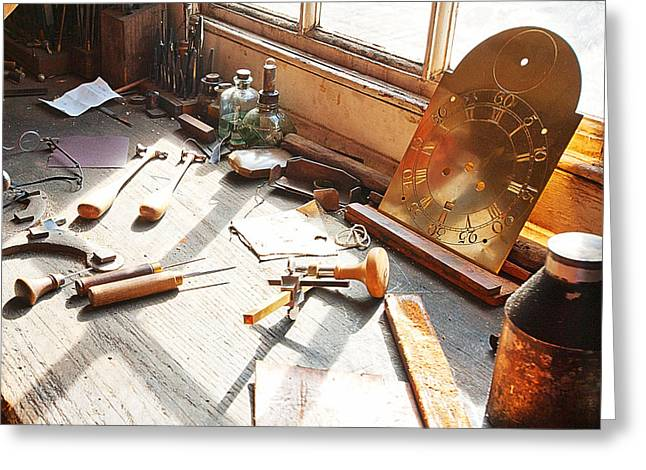 Light Greeting Cards - Desk of a Clockmaker in Williamsburg Virginia Greeting Card by Artist and Photographer Laura Wrede