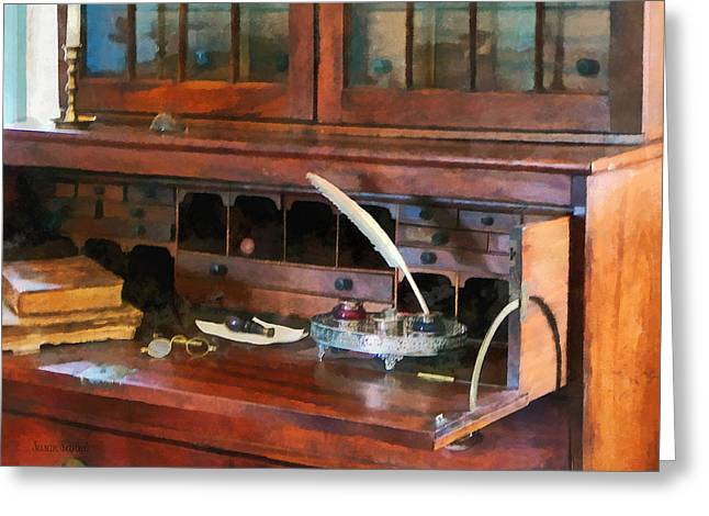 Books Greeting Cards - Desk With Quill and Books Greeting Card by Susan Savad