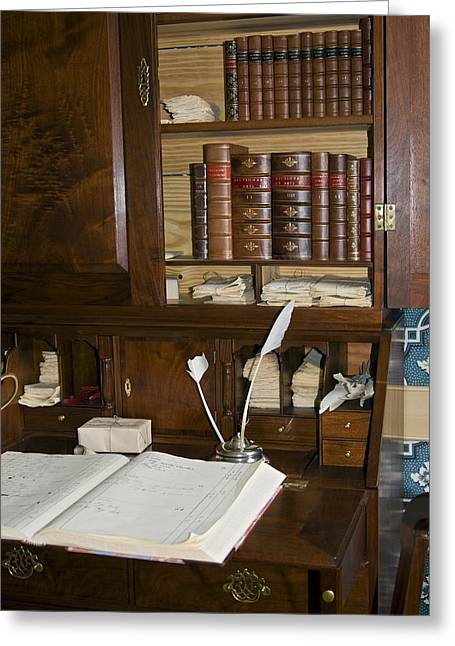 Ledger; Book Photographs Greeting Cards - Desk With Quill Pens Greeting Card by Sally Weigand