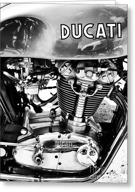 Gas Tank Greeting Cards - Desmo MK 3 Monochrome Greeting Card by Tim Gainey
