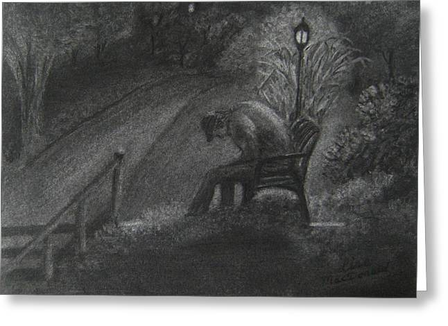 Park Benches Drawings Greeting Cards - Desolate Greeting Card by Lisa MacDonald