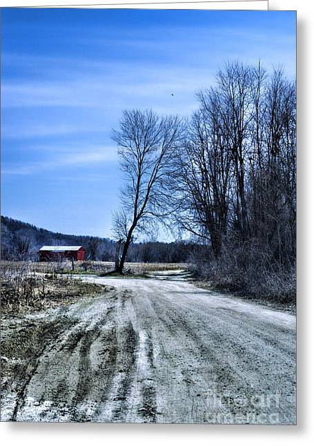 Old Country Roads Greeting Cards - Desolate Road Greeting Card by HD Connelly