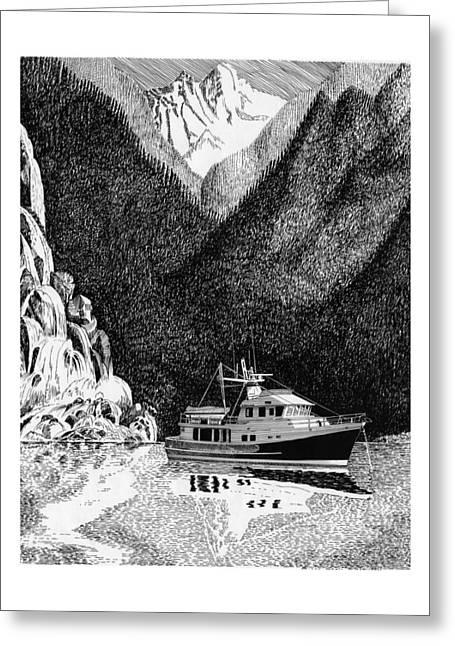 British Columbia Drawings Greeting Cards - Alaska inside passage British Columbia Desolation Sound anchorage Greeting Card by Jack Pumphrey