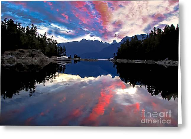 Haybale Greeting Cards - Desolation Sound Greeting Card by Robert Bales
