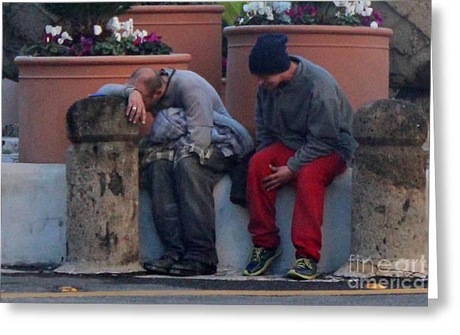 Two Men Greeting Cards - Despair And A Friend Greeting Card by Joe Jake Pratt