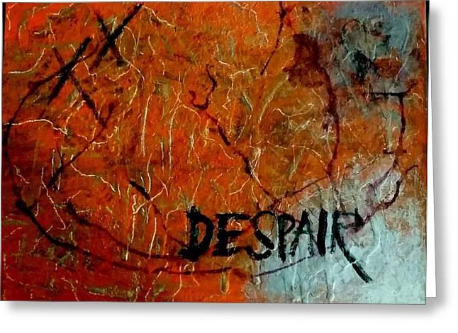 Banksey Greeting Cards - Despair Greeting Card by Greg Harrington