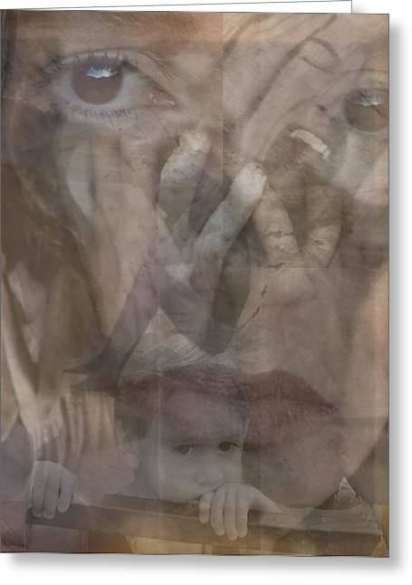 Sorrow Mixed Media Greeting Cards - Despair Greeting Card by Linaee Hultquist