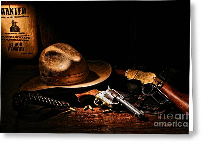 Ammunition Greeting Cards - Desperado Greeting Card by Olivier Le Queinec