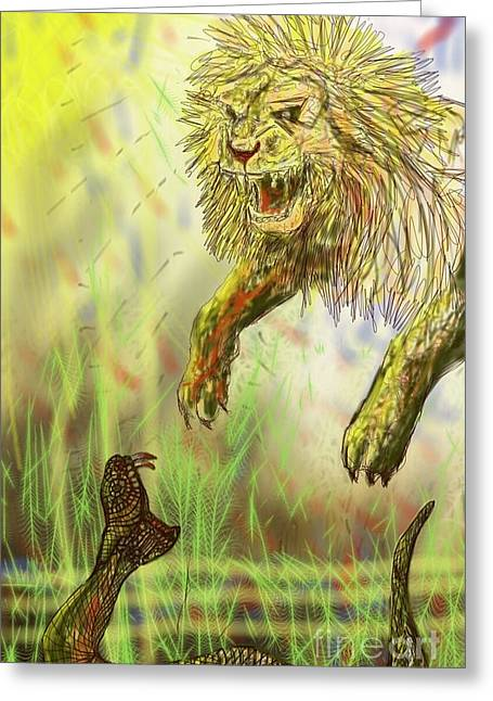 Offense Digital Art Greeting Cards - Desperate Offense Greeting Card by Michael African Visions