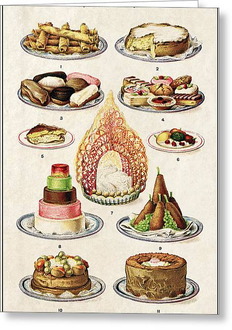Dairy Foods Greeting Cards - Dessert Lovers Panel 1907 Greeting Card by Daniel Hagerman